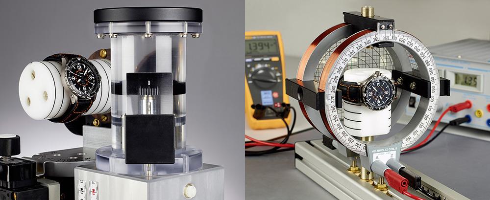 消磁した時計を磁場にさらし後に磁気の影響を受けていないか試験装置で磁気特性の解析